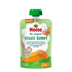 Veggie Bunny - CARROT & SWEET POTATO with PEAS Baby Food Pouch, Organic