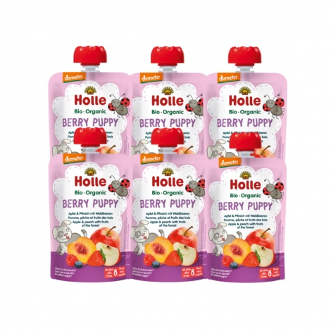 Berry Puppy - APPLE, PEACH with FRUITS OF THE FOREST Baby Food Pouch, Organic (Pack of 6)